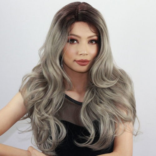 Peruca Front Lace Wig - MERMAID - Silver Blonde